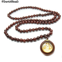 Натуральная кровь сандаловое дерево 8 мм круглые бусины золото Смеющийся Будда Кулон Мала ожерелье 5 шт в партии