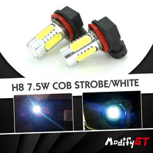 Modifygt 2Pcs Driving Car LED COB H8 H11 strobe H4 H7 9006 9005 HB4 HB3 H10 car accessories DRL signal brake Fog light Lamp auto(China)