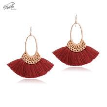 Badu Vintage Cotton Tassel Earring Women Rust Red Tassels Hand Braided Earrings Original Design Fashion Jewelry 2017 New Arrival