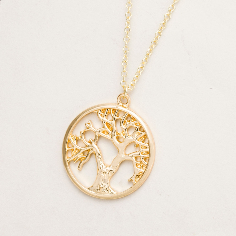 Yiustar 2017 Tree of Life Shape Simple Necklace In Gold Wholesale