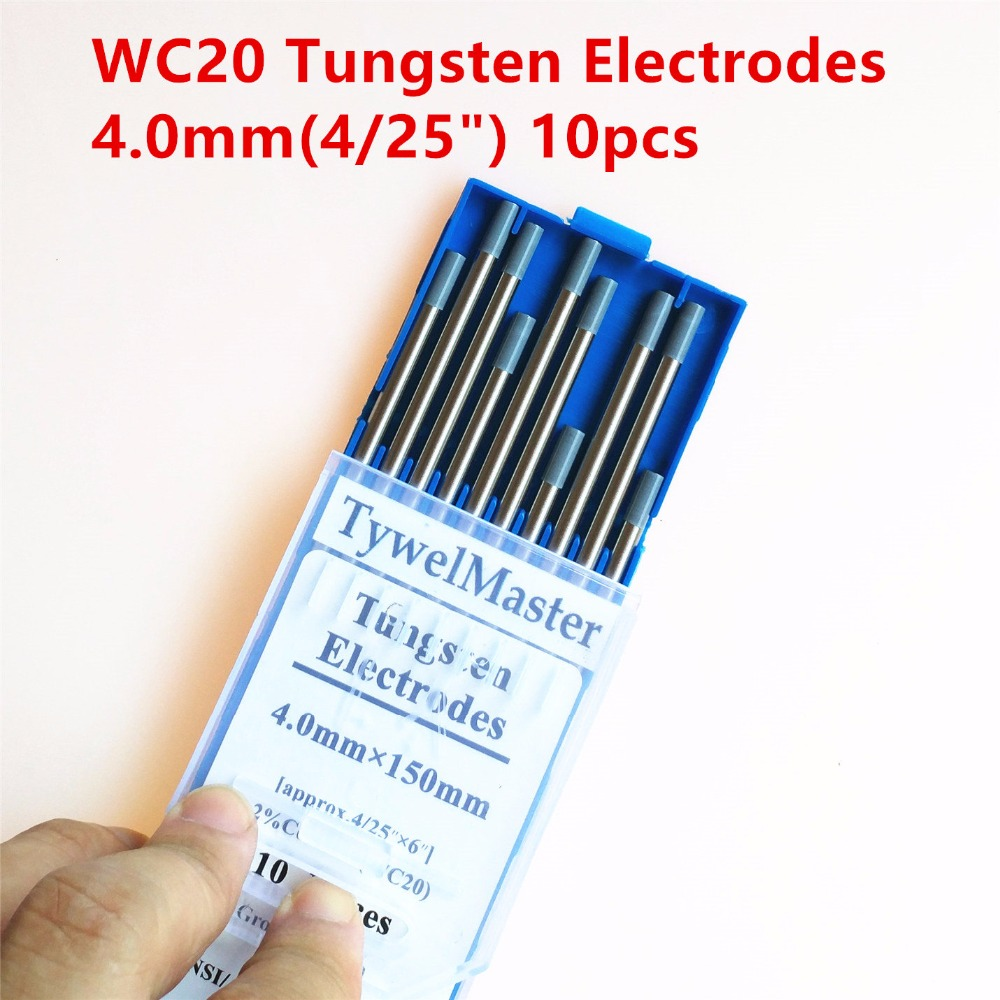 High Quality Tig Rod WC20 Tungsten Electrode 4.0mm(4/25)x150mm(6) 10pcs/Pack 2.0% Ceriated Grey Color for Tig Welding Torch wt20 tig welding tungsten electrode 2