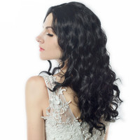 Medium Length Wave Body Black Natural Low Temperature Synthetic Wigs Hair For Women Party Cosplay Wig