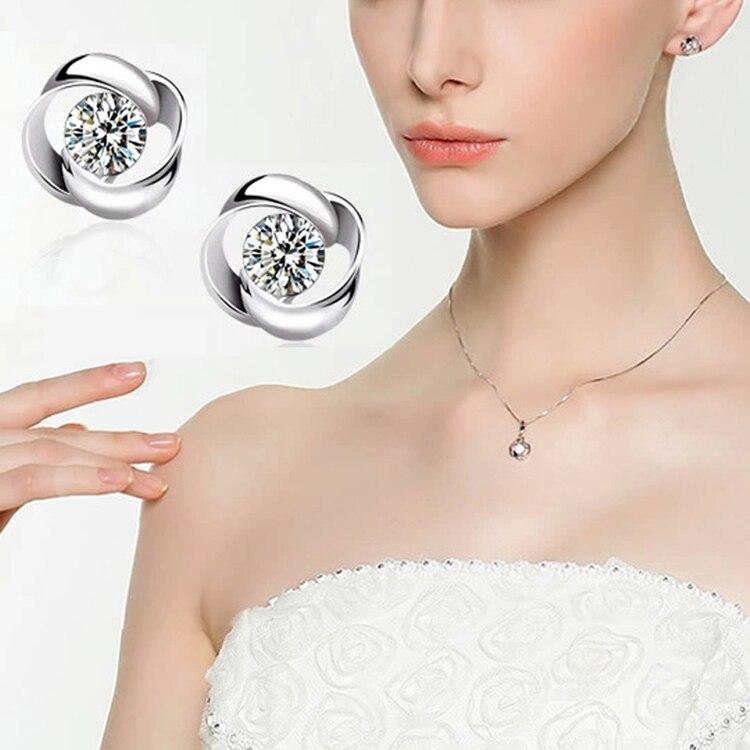 Women Trendy Summer Style Flower Shaped Ear Stud Silver Plated Rhinestone Earrings Fine Jewelry
