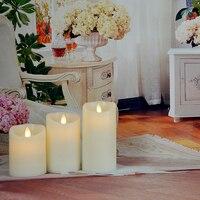מרחוק מוכן Flameless שעוות נרות עם טיימר (4 h, 8 h) אפקט נר להבת ריקודים מציאותית שנהב צבע סט של 3 לבית דקו