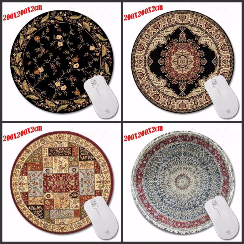 High Quality Personality Design Painting Round Mouse Pad Fashionable Persian Carpet Computer Laptop Gaming Optical Mousemat