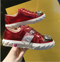 2019 Classic Women PU Casual Shoes Shoes Bling Crystal Female Casual Sneakers for Woman Cross tied Rhinestone Ladies Flats Shoes