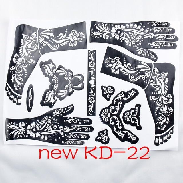 1pc new KD22 Tattoo Template hands/feet henna tattoo stencils for ...