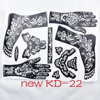 1pc nowy szablon tatuaż KD22 ręce stopy tatuaż z henny szablony do airbrushing profesjonalne mehndi nowy zestaw do malowania ciała dostaw tanie i dobre opinie Tattrendy Tattoo stencil Zhejiang China 28cm*38cm