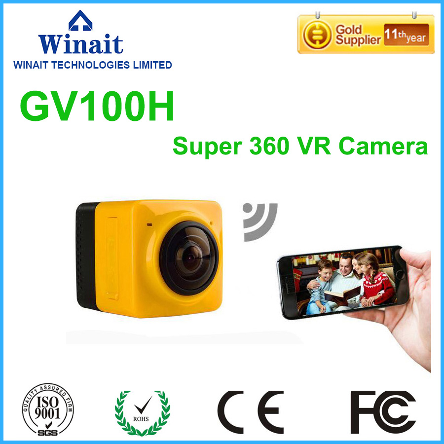 1280x1024 28fps 360 font b VR b font action camera with 220 degre wide angle lens