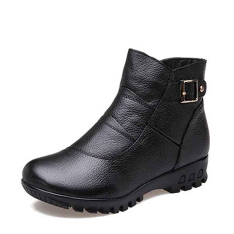 CEYANEAO 2017 Thời Trang Mùa Đông Khởi Phụ Nữ Chính Hãng Da Mắt Cá Chân Phẳng Boots Ấm Phụ Nữ Tuyết Thoải Mái Cộng Với Kích Thước Giày Phụ Nữ Giày