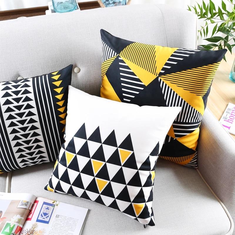 modern black yellow decortive cushions covers velvet geometric triangles throw pillows cases lumbar pillow sham cover home decor