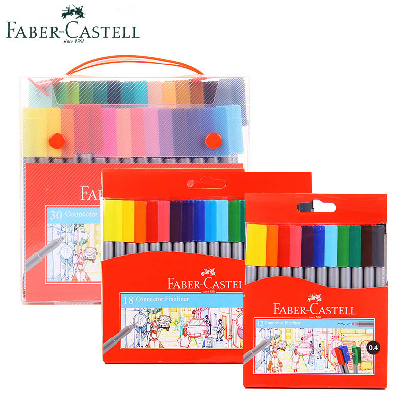 Faber Castell Connector Fineliner Marker 12/18/36 Color Water Based Needle Pen 0.4mm Colored Ultra Fine Point Pens Comic Markers 0 4mm 24 colors art marker pen fine draw point 88 fineliner pens painting pencils children pens no tox drawing marker sketch