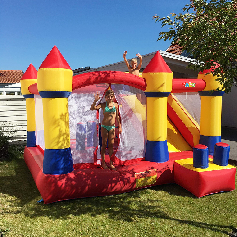 YARD Large Inflatable Bouncer Trampoline With Obstacle Slide 4*3.8*2.5M Outdoors Home Use PVC Oxford Christmas Gift Ship Express