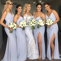 Sexy High Split Chiffon Bridesmaid Dresses For Wedding Party 2018 Cheap Simple Spaghetti Straps Long Maid Of Honor Gowns Prom