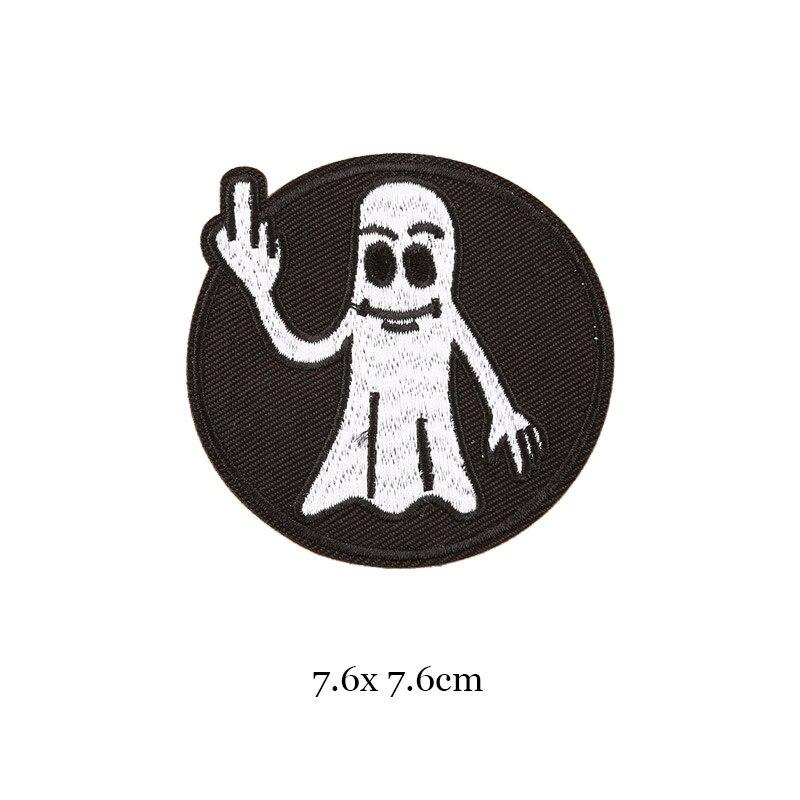 1 шт., черные, белые байкерские нашивки для одежды, железная одежда, аппликация с буквами, Череп, звезда, полосы, вышитая наклейка, круглый значок - Цвет: 23