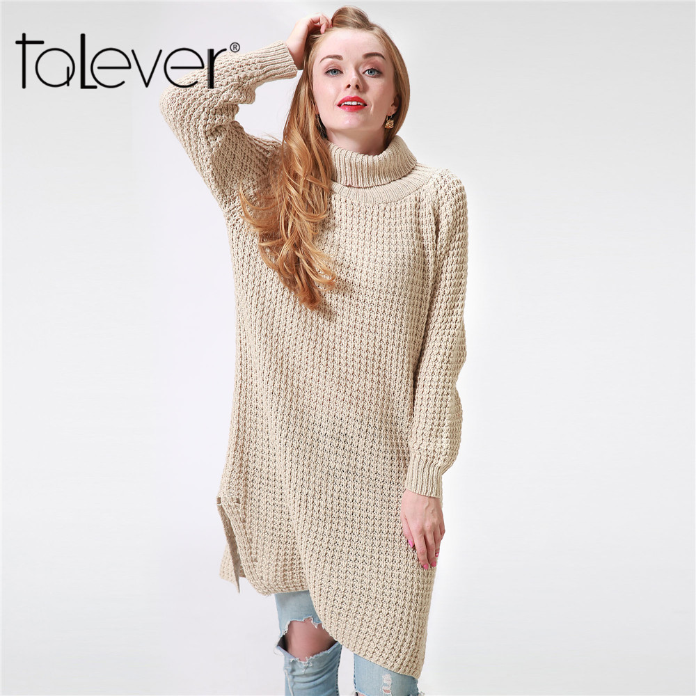 2018 Women Sweater Dress Turtleneck Long Sleeve Warm Autumn Winter Loose knitted Sweaters and Pullovers Plus Size Female Talever women turtleneck front pocket sweater dress