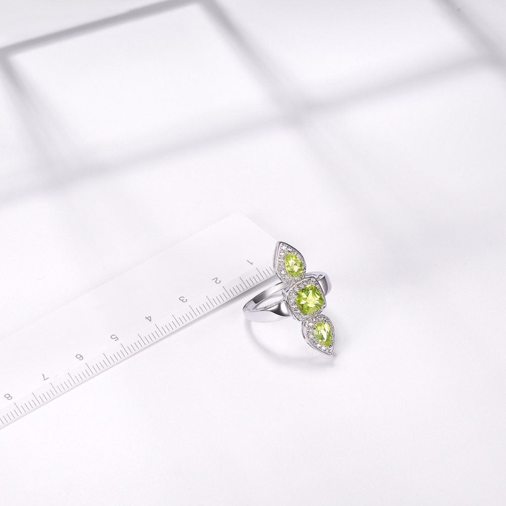 цены Hutang Gemstone Jewelry Natural Peridot and Similar Diamond 925 Sterling Silver Ring Brand Fine Fashion Stone Jewelry For Gift