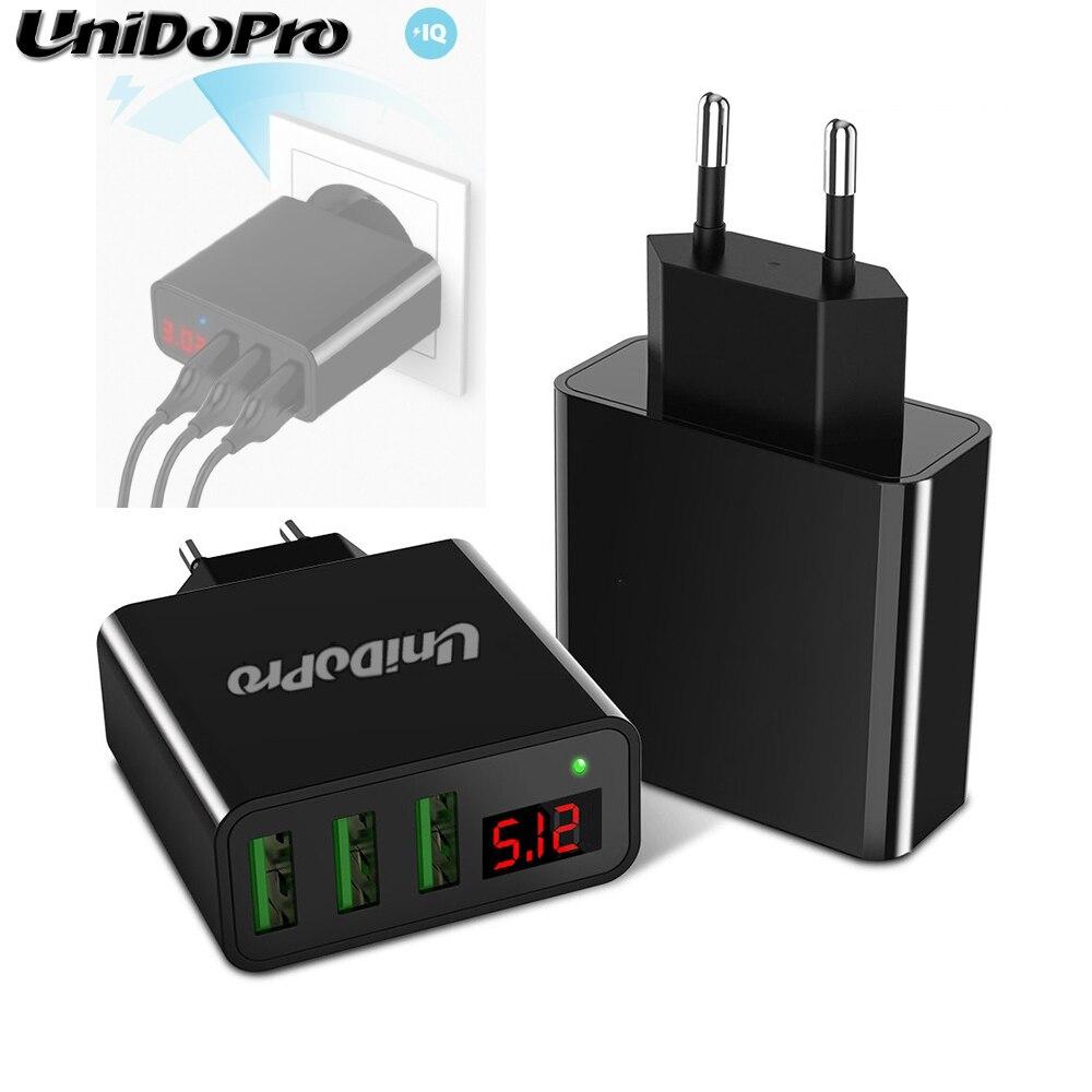 Unidopro 3-Port USB EU Plug AC Wall Charger for LG G Pad X 8.0 V520 , G Pad II 8.0 V498 V30 2.4A Travel Chargeur w/ LED Display