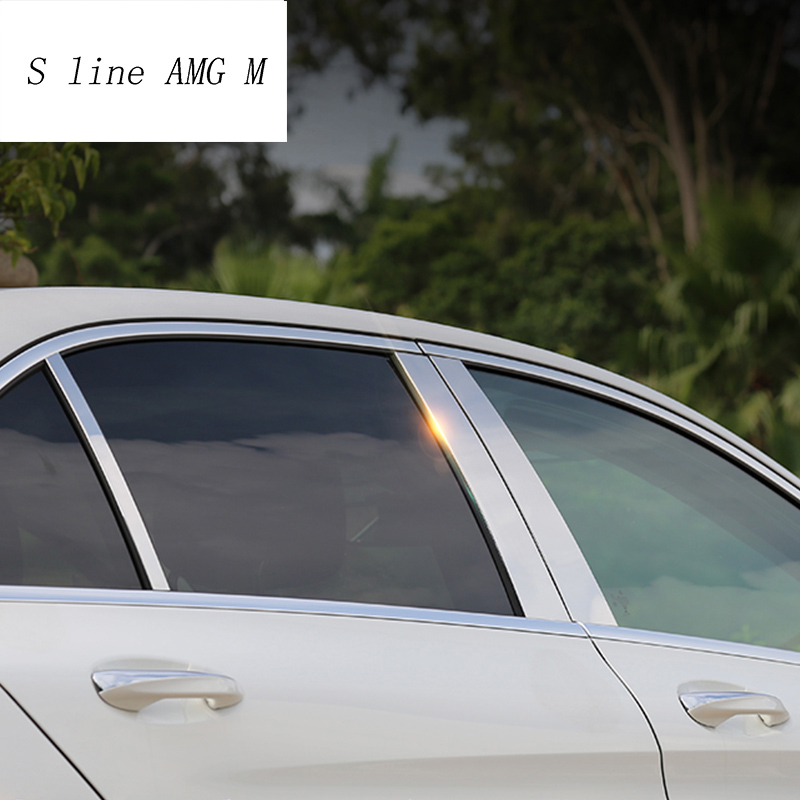 Car Window B-pillars Decorative Sticker For Mercedes Benz C Class <font><b>W205</b></font> C180 <font><b>C200</b></font> long axis Car Styling Trim auto Accessories image