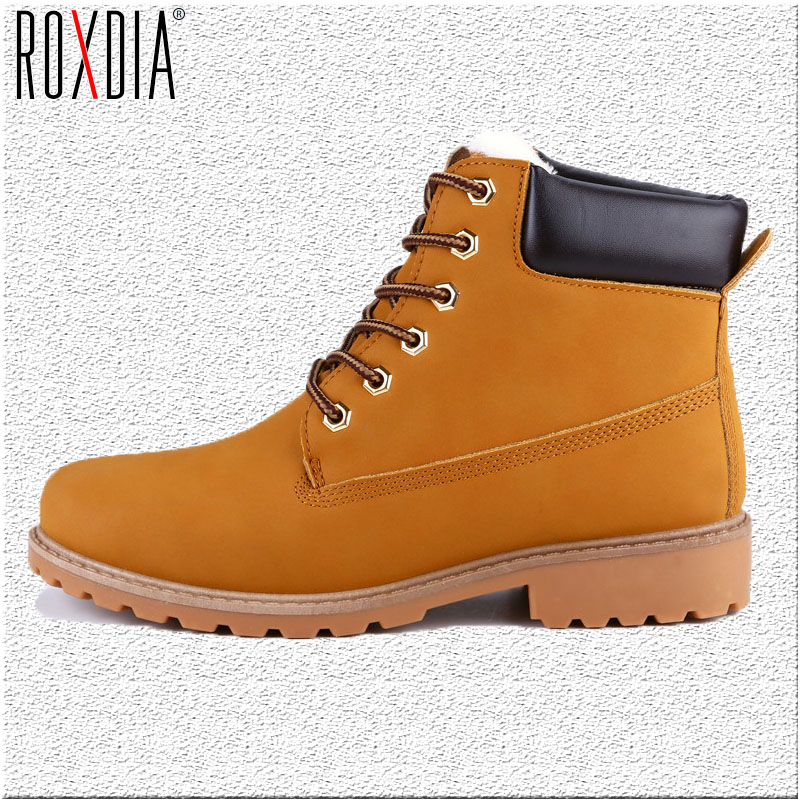 ROXDIA Faux Suede Leather Men Boots Spring Autumn And Winter Man Shoes Ankle Boot Men's Snow Shoe Work Plus Size 39-46 RXM560 men suede genuine leather boots men vintage ankle boot shoes lace up casual spring autumn mens shoes 2017 new fashion