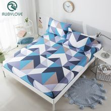3 Size 100% Cotton Cartoon geometry Pattern Fitted Sheet Mattress Cover Solid Color Bedding Linens Bed Sheets With Elastic Band