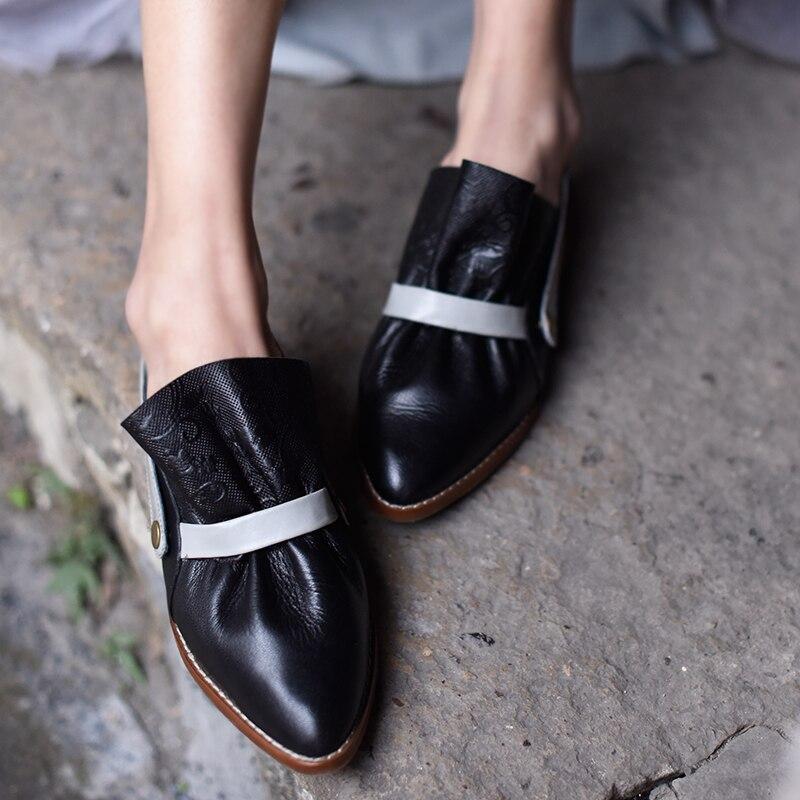 À D'origine Bout Artmu De Confortables grey Cuir Véritable Femmes Rétro La Black Main Art Pointu 1 Chaussures Plat Sandales En F2289 Bx6nBd7