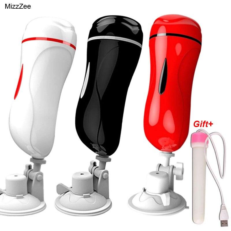 MizzZee Dual Channel Vagina Real Buceta Vibrador Brinquedos Eróticos Para Homens Masturbador Para O Homem Máquina de Sexo Oral Vibrador Boquete hombre