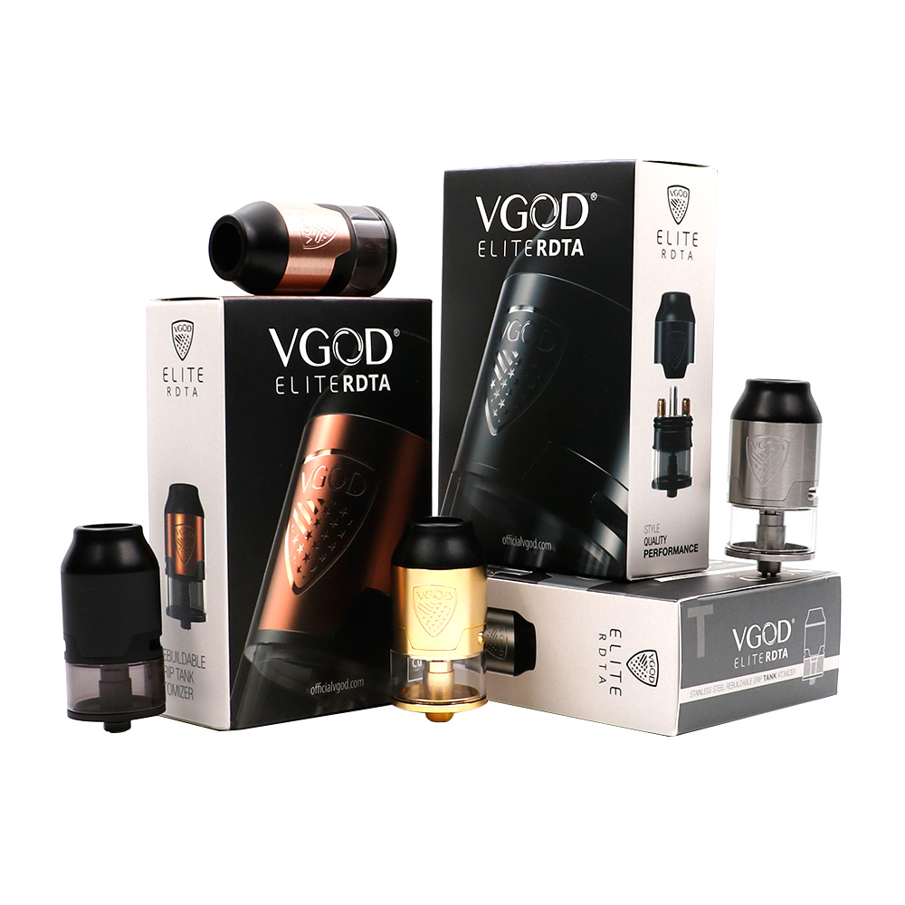 In Stock VGOD Elite RDTA Tank 24mm Diameter Electronic Cigarettes Rebuildable Dripping Atomizer 4ml For Vgod Elite Pro Mech Mod