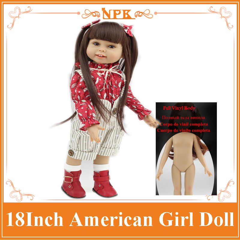 Hot Sale 18 Full Vinyl Silicone Reborn American Girl Doll Realistic Baby Toys As Birthday Gift For Girls Kids Dolls Brinquedos 22 inches sweet girl dolls brown hair 55cm doll reborn baby lovely toys cute birthday gift for girls as american girl