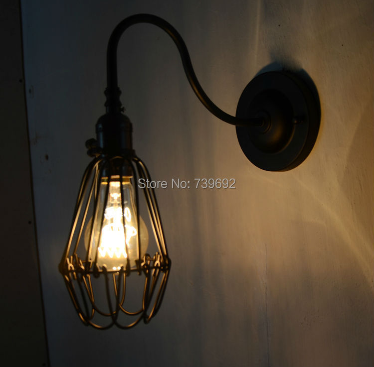 Iron Cage Lamp Shade Bend Pipe Wall