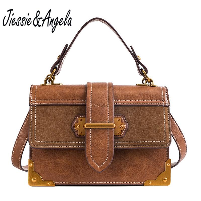Jiessie&Angela new vintage women PU Leather handbag luxury designer women shoulder cross body bags small flap messenger bags jiessie