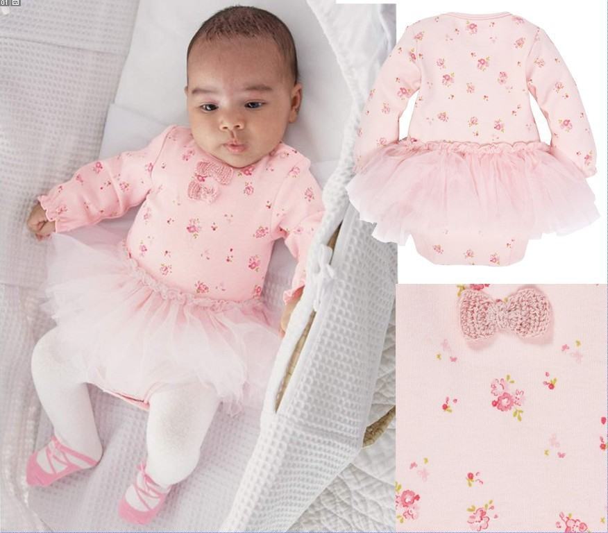 heat! cotton clothing newborn baby jumpsuit printing bow long-sleeved coveralls baby tri ...