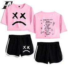 Lil Peep k-pops-Conjunto de dos piezas para mujeres, pantalones cortos y camisetas, ropa de talla grande xxl, gran oferta, 2019