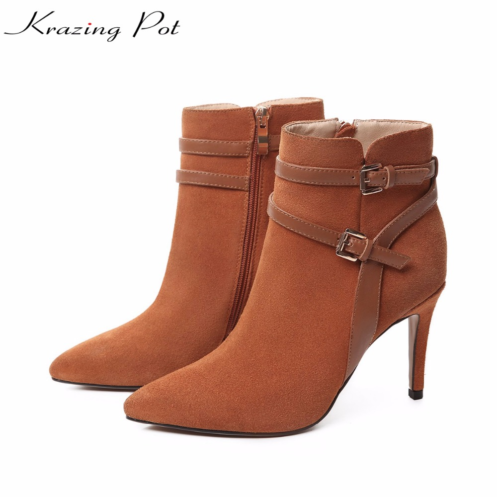Krazing Pot cow suede real leather autumn winter pointed toe buckle thick high heels women office lady tassel ankle boots L05 krazing pot shallow sheep suede metal buckle thick high heels pointed toe pumps princess style solid office lady work shoes l05