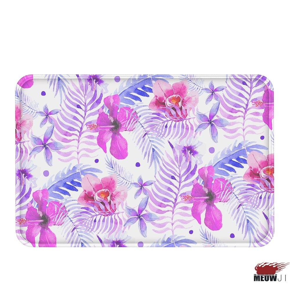 [MIAOJI] Grass Leaves Flower Spring Color Soft Feet Dust Rub Carpet Doormat Bath Mat Absorbent Non-Slip