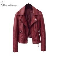 Zoe Saldana 2017 Short Style Leather Jacket Women Motorcycle Biker Coats Zipper Turn Down Collar Slim