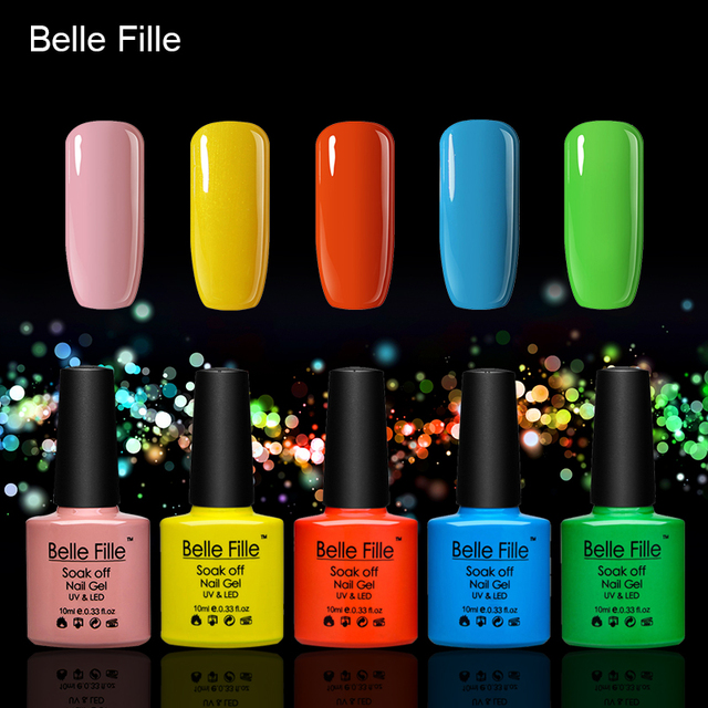 Belle Fille Yellow Gel Polish UV Varnish For Party Makeup UV Gels Color Coat Need Top Coat Candy Gel Nail Polish Holiday Gift