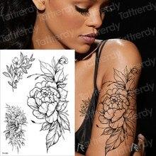 Временная татуировка черный цветок татуировки рукава водная переводная татуировка наклейка пион роза татуировки боди-арт Сексуальная Татуировка девушка рука татуировка