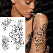 Temporäre tattoo schwarz blume tattoo ärmeln wasser transfer tatoo aufkleber pfingstrose rose tattoos body art sexy tatoo mädchen arm tatto(China)