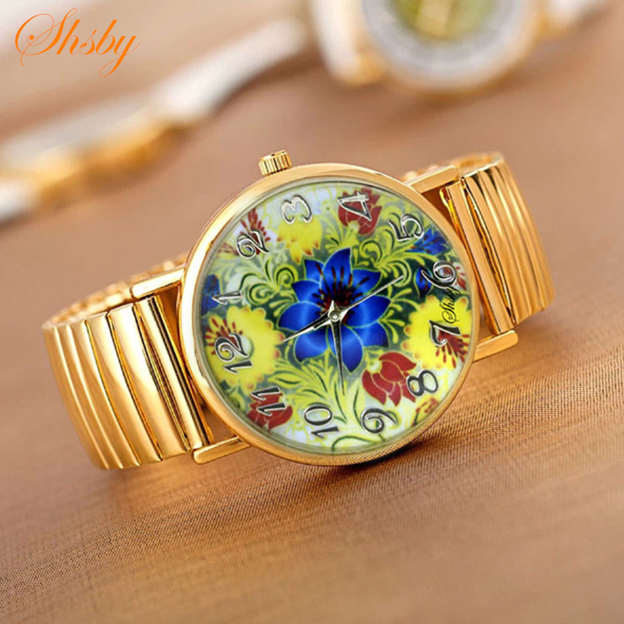 shsby Hot sale  high quality Gold Elastic stainless watches women dress quartz wristwatch new arrival ladies flower watches