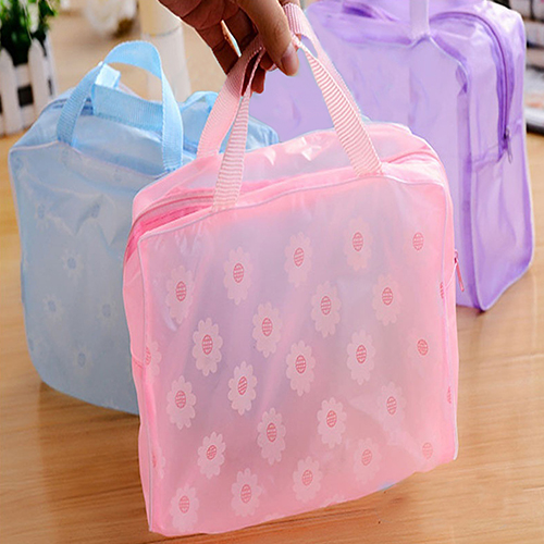Portable Flower Bags Women PVC Waterproof Makeup Toiletry Cosmetic Toiletry Travel Wash Pouch Oragnizer Holder Bag