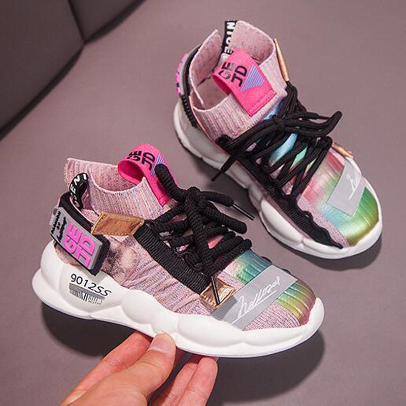 2019 Outono Crianças sapatilhas Meninas sapatos Meninos Moda Infantil Sapatos Casuais para o Esporte Menina Criança Correndo Sapatos Chaussure Enfant