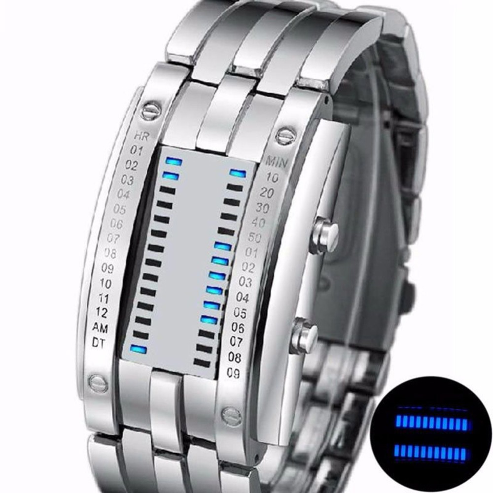 Permalink to Fashion LED Electronic Watches Lover's Watch Creative Binary Wrist Watch Men Women Digital Stainless Steel Watch relogio saat