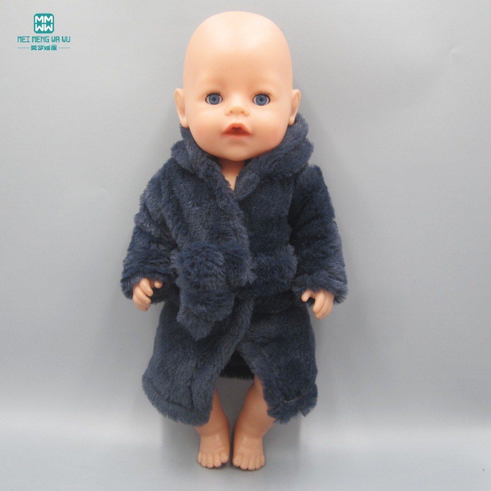 Clothes for dolls Fits 43cm Zapf Baby Born Doll Clothes dress Fashion Dark blue pajamas bathrobe baby born doll clothes for 43cm zapf doll accessories japan fashion print dress outfit children birthday gift 055