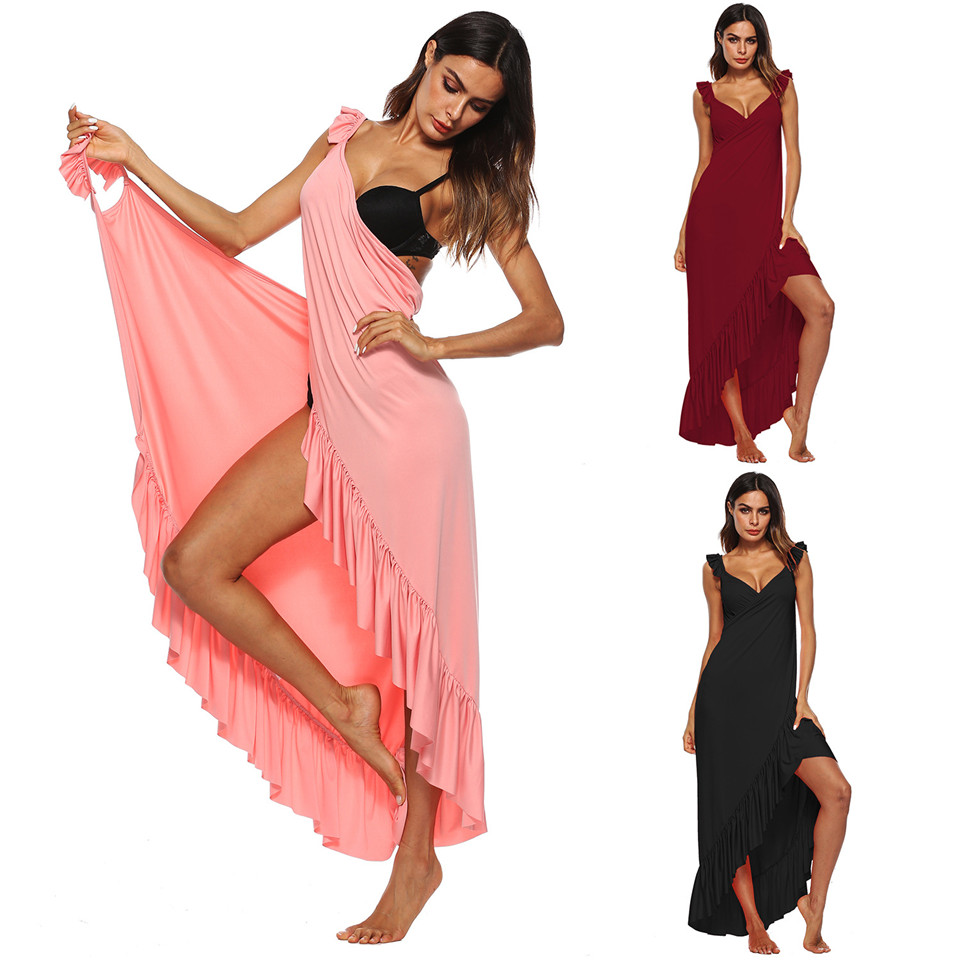 Sexy Backless Maternity Women Summer Dress V-neck Ruffles Women Ankle-Length Bikini Cover Ups Beach Dresses Vestidos Multi Use