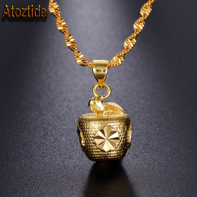 Atoztide brand gold color apple pendant necklace solid charm atoztide brand gold color apple pendant necklace solid charm necklace with red rope gift mozeypictures Image collections