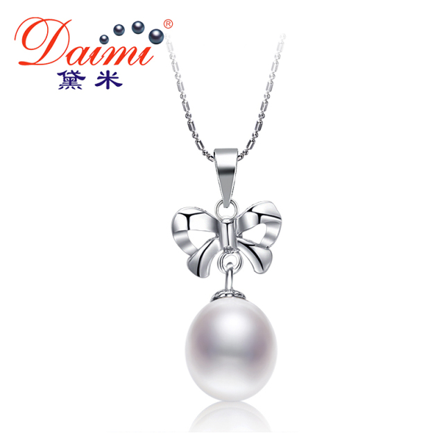 Daimi simple nice bowknot necklace 85 9mm natural white pearl daimi simple nice bowknot necklace 85 9mm natural white pearl pendant necklace 925 silver pendant mozeypictures Image collections