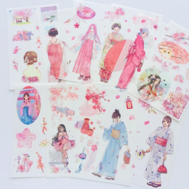 6 Sheets /Pack Spring Pink Sakura Kimono Japanese Girl Washi Paper Decorative Stickers Decor