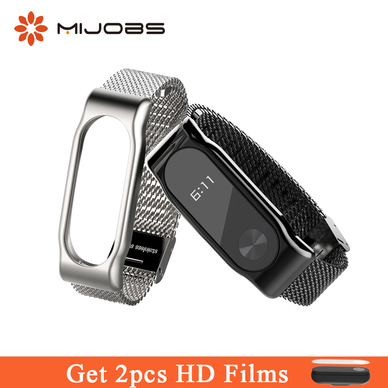 Mijobs Milanese Metal Strap for MiBand 2 Alloy Wristband Stainless Steel Bracelet Replace for Xiaomi Mi Band 2 Wrist Smart Watch