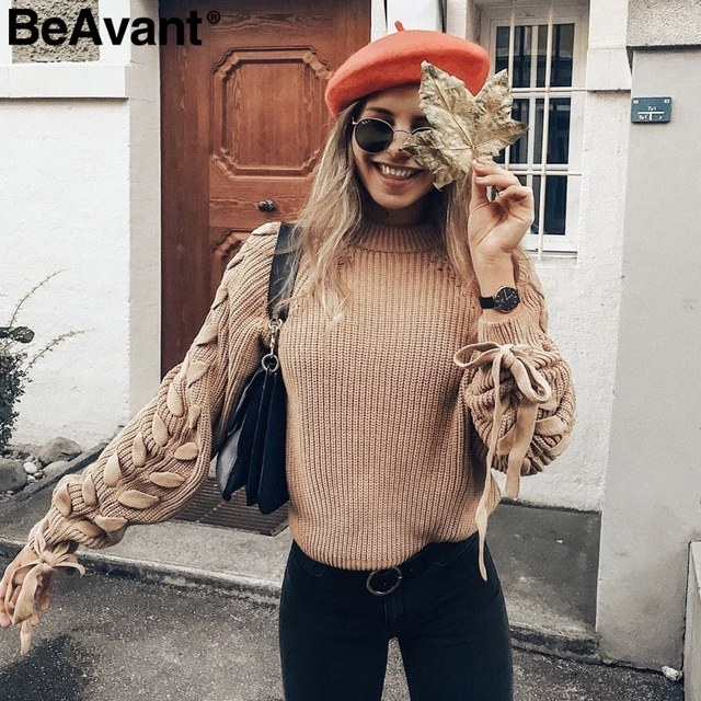 BeAvant Lace up knitted sweater
